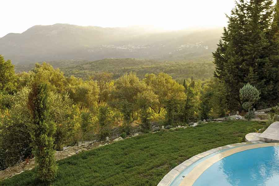 private pool villa to rent, breathtaking view from garden